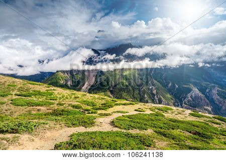 Beautiful mountains landscape with white clouds in Annapurna area