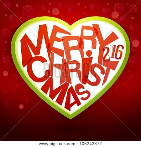 Merry Christmas Heart label at magic red background