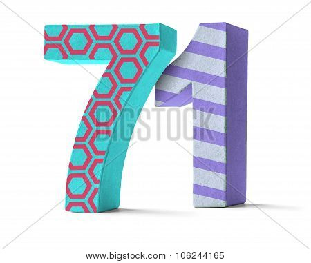 Colorful Paper Mache Number On A White Background  - Number 71