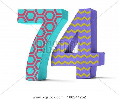 Colorful Paper Mache Number On A White Background  - Number 74