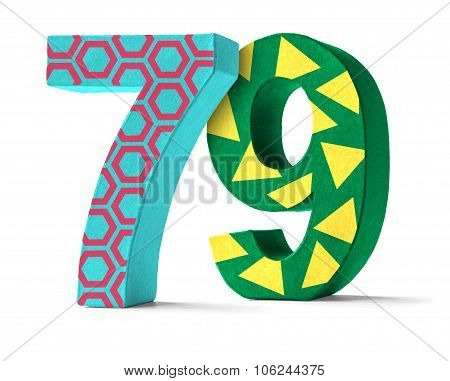 Colorful Paper Mache Number On A White Background  - Number 79