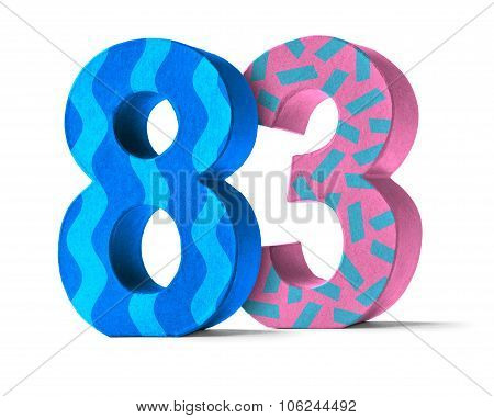 Colorful Paper Mache Number On A White Background  - Number 83