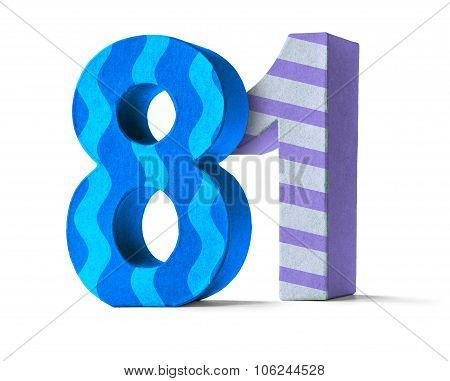 Colorful Paper Mache Number On A White Background  - Number 81