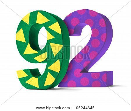 Colorful Paper Mache Number On A White Background  - Number 92