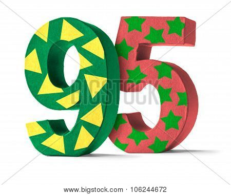 Colorful Paper Mache Number On A White Background  - Number 95