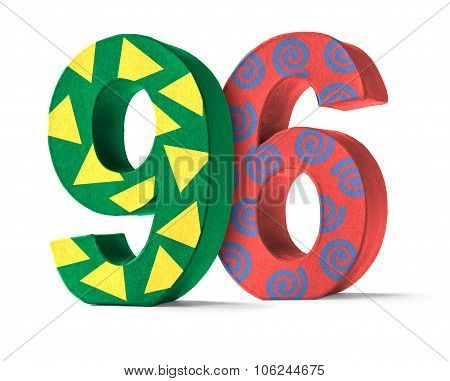 Colorful Paper Mache Number On A White Background  - Number 96