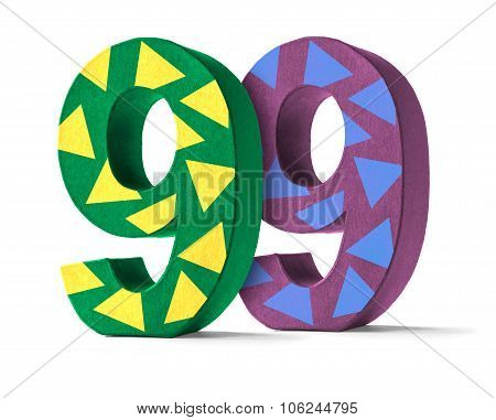 Colorful Paper Mache Number On A White Background  - Number 99