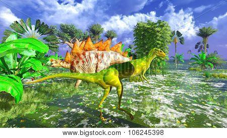 Prehistoric landscape with big dinosaur
