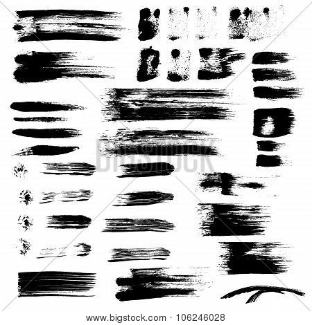 Black Paint Brush Strokes Collection