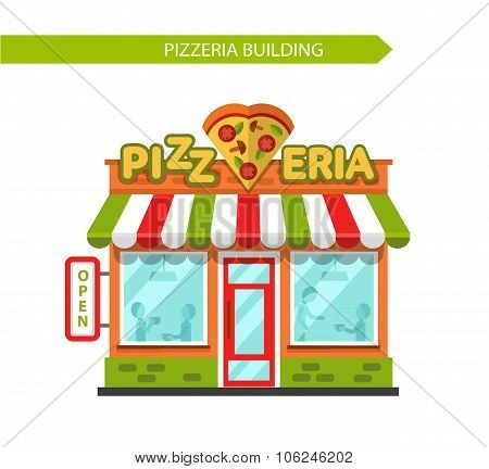 Pizzeria shop building