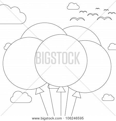 Coloring Book - 5 Balloons On Sky Background