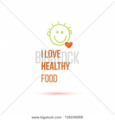 Cute logo with smile and heart for healthy products