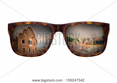 Sunglasses with beautiful view of Park Guell