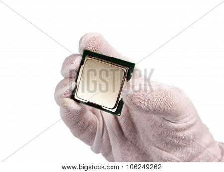 Electronic Collection - Hand Holding A Cpu Isolated On White Background