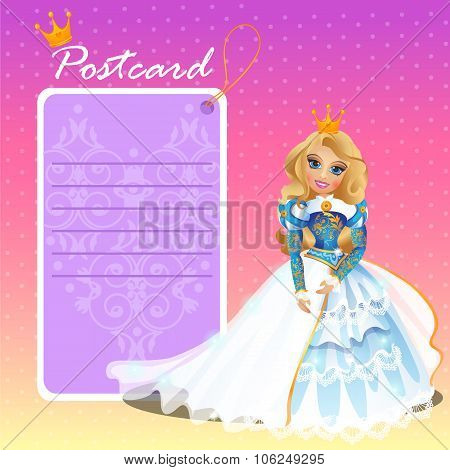 Doll Queen with postcard, holiday card, invitation