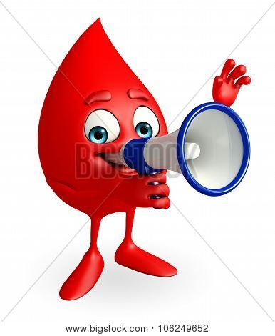 Blood Drop Character With Loudspeaker