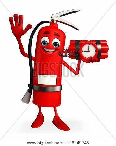 Fire Extinguisher Character With Time Bomb