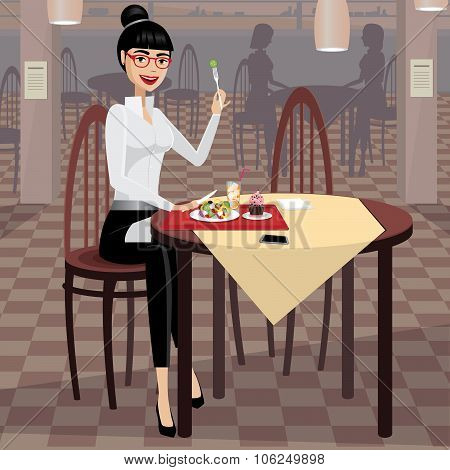 Business Woman Having Lunch In The Dining Room