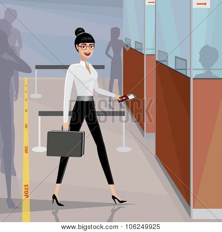 Business Woman Pass The Passport Control