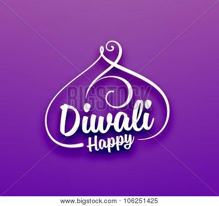 Happy Diwali Typographic Label. Calligraphic Style vector illustration.
