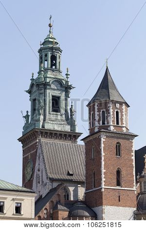 Clock Tower Of Wawel Royal Castle In Cracow, Poland