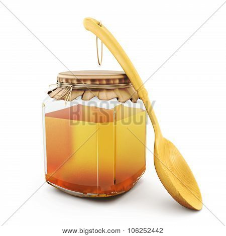 Closed Glass Jar Of Honey With Wooden Spoon Isolated On White.