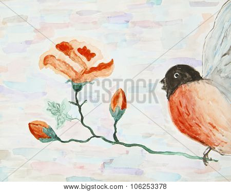 Watercolor Illustration Of Stylized Roses And Bullfinch