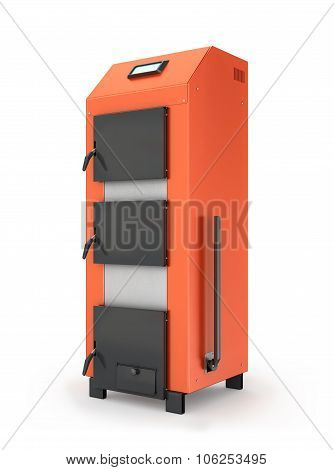 Red Solid Fuel Boiler. Isolated On White Background