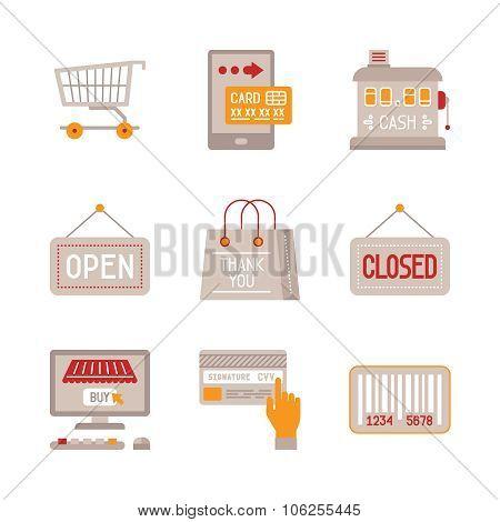 Set of vector shopping icons: cash desk, bag, open sign, etc.