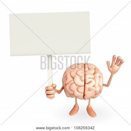 Brain Character With Sign