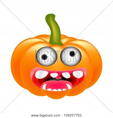 Crazy Halloween Pumpkin Cartoon Character With Eyes And Mouth. Vector Illustration Isolated On White