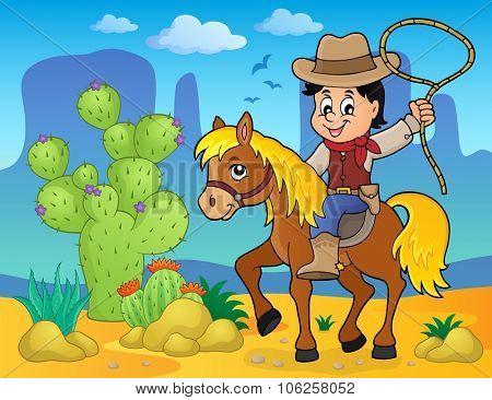 Cowboy on horse theme image 2 - eps10 vector illustration.