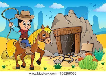Cowboy on horse theme image 3 - eps10 vector illustration.