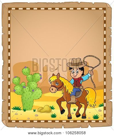 Parchment with cowboy on horse theme 1 - eps10 vector illustration.
