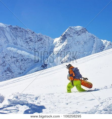 A snowboarder on backcountry