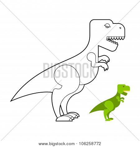 T-rex Dinosaur Coloring Book. Scary Big Tyrannosaurus. Prehistoric Reptile With Large Teeth. Big Gre