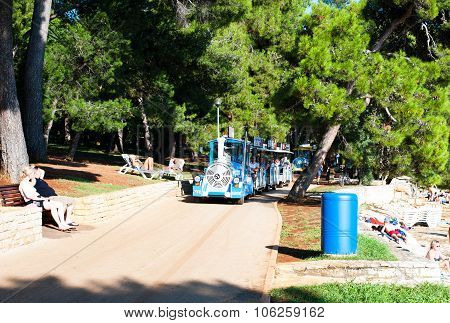 Tourist Train On The Coastline In Porec, Istria, Croatia