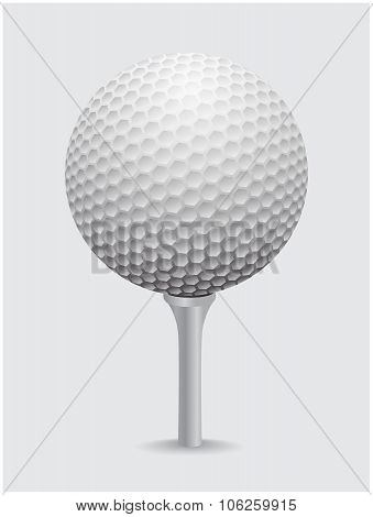 Golfball Realistic Vector. Image Of Single Golf Equipment On Cone Ball Illustration Isolated On Grey