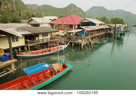 View to the fishermen village houses in Sam Roi Yot National park, Sam Roi Yot, Thailand.