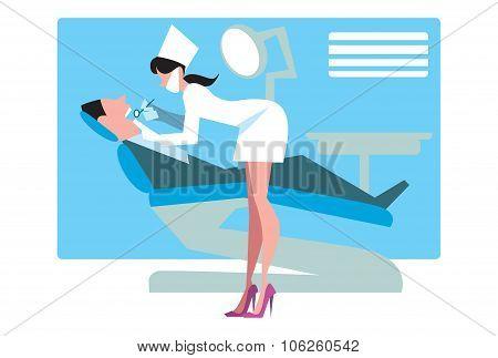 Dental office female dentist treats teeth patient. Vector dentist office. Dentist office vector illustration. Dentist office, dentist work. Dentist with patient. Dental care, smile teeth.