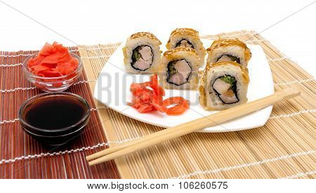 Appetizing Japanese Rolls With Eel On A Plate
