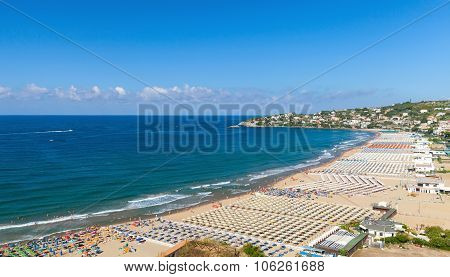 Wide Public Beach Of Gaeta Town, Italy