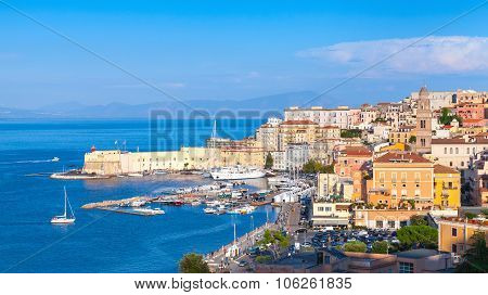 Cityscape Of Old Gaeta Town In Summer