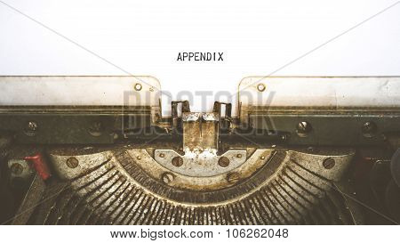 Typewriter And Empty White Paper With A Word Appendix , Vintage Style