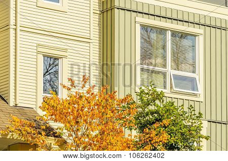 Fragment of a house with nice window.