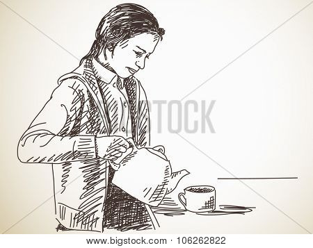 Teen girl pours tea from a teapot into a cup, Vector sketch, Hand drawn illustration