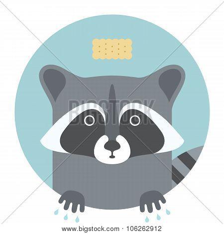 Animal set. Portrait in flat graphics - Raccoon