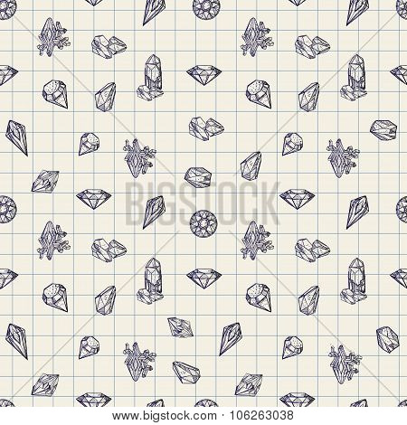 Seamless pattern with different gemstones.