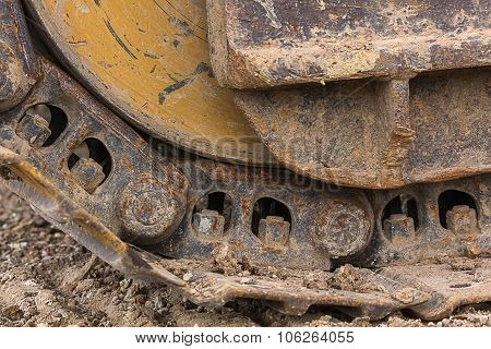 Close Up Track Wheel Of Excavator