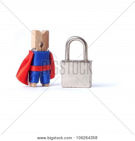 Safety business, safeness concept. Locked padlock. Safeguard clothespin superhero.  white background